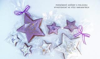 Perníkové hvězdy s polevou ve více variantách